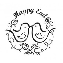 """Wooden stamp, text, """"Happy End!"""""""