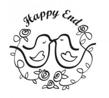 """Stempel / Stamp: Holz / Wood Holzstempel, Text, """"Happy End!"""""""