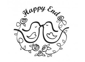"""Stempel / Stamp: Holz / Wood Wooden stamp, text, """"Happy End!"""""""