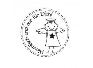 """Stempel / Stamp: Holz / Wood Holzstempel, tyske tekst, """"himmlich og til dig!"""""""