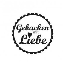 """Holzstempel, deutsche Text, """"Gebacken mit viel Liebe!"""""""
