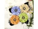 Prima Marketing und Petaloo verschiedene Blumen von Prima Flower, 4 Stück mit nostalgische Brads