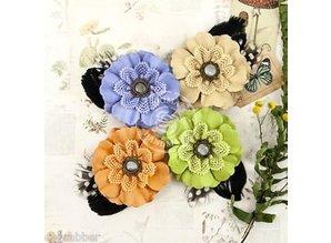 Prima Marketing und Petaloo forskellige blomster fra Prima blomst, 4 stykker med nostalgiske Brads