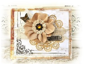 Prima Marketing und Petaloo various flowers from Prima Flower, 4 pieces with nostalgic Brads
