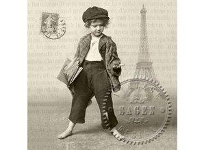 DECOUPAGE AND ACCESSOIRES 6 designer servietter i vintage stil, drenge