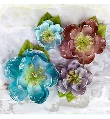 Prima Marketing und Petaloo Fabrics flowers by Prima Marketing, 4 pieces, Oceana