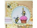 Wild Rose Studio`s Sello de goma, abejas, una vela y una magdalena / de la magdalena