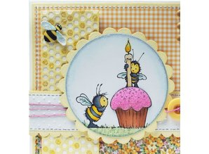 Wild Rose Studio`s Rubber stamp, bees, a candle and a muffin / cupcake
