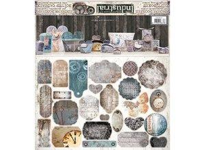 """Dekoration Schachtel Gestalten / Boxe ... Craft set per 14 pacchetti """"industriali"""" + Etichette"""