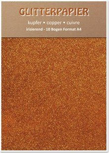 DESIGNER BLÖCKE  / DESIGNER PAPER Glitter iridescent paper, format A4, 150 g, copper