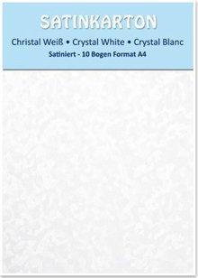 DESIGNER BLÖCKE  / DESIGNER PAPER Satin pap A4, dobbeltsidet satin 250gr med prægning. / Kvm, krystal, hvid