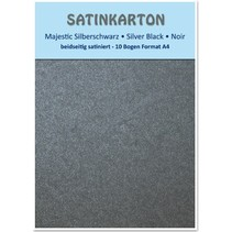 "Satin cardboard A4, double-sided satin 250gr with embossing. / Square meter, ""Majestic"" silver black"