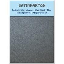 """Satinkarton A4, beidseitig satiniert mit Prägung 250gr. / qm, """"Majestic"""" silberschwarz"""