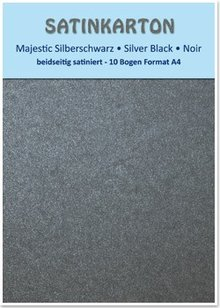 "DESIGNER BLÖCKE  / DESIGNER PAPER Satin cardboard A4, double-sided satin 250gr with embossing. / Square meter, ""Majestic"" silver black"