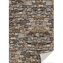 5 ark karton med sten udseende, natursten, brun