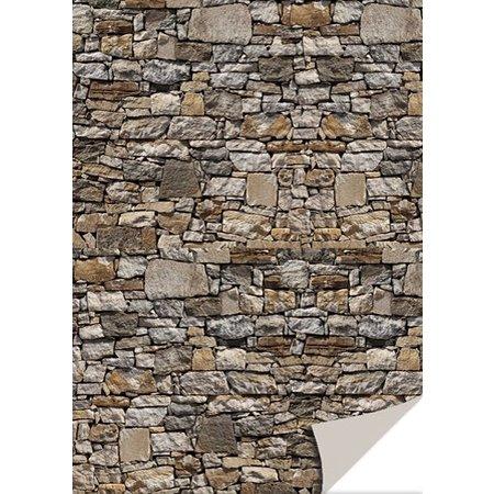 DESIGNER BLÖCKE  / DESIGNER PAPER 5 ark karton med sten udseende, natursten, brun