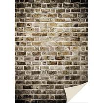 5 hojas de tarjetas con mirada de piedra, pared de ladrillo, viejo