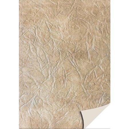 DESIGNER BLÖCKE  / DESIGNER PAPER 5 sheets card stock leather, light brown