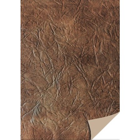 DESIGNER BLÖCKE  / DESIGNER PAPER 5 Bogen Kartenkarton Leder, dunkelbraun