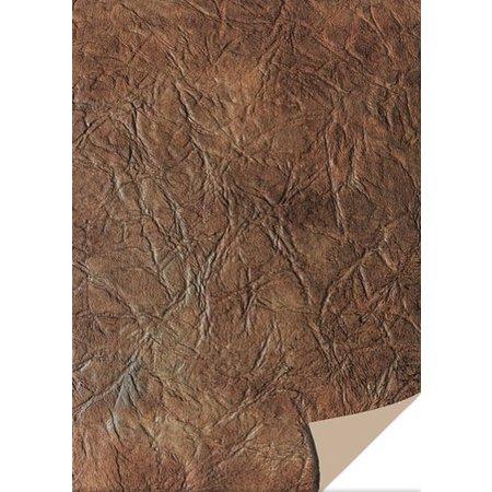 DESIGNER BLÖCKE  / DESIGNER PAPER 5 sheets card stock leather, dark brown
