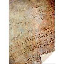 1 arco carta cartone foglio d'epoca musica