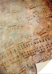 DESIGNER BLÖCKE  / DESIGNER PAPER 1 arco carta cartone foglio d'epoca musica