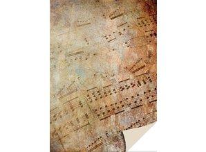 DESIGNER BLÖCKE  / DESIGNER PAPER 1 arco tarjeta de cartón partitura del vintage