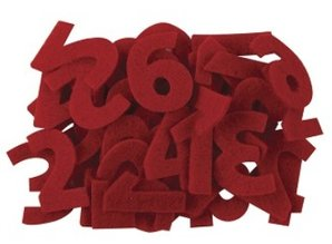 Embellishments / Verzierungen Numbers from 1 to 24 in felt red