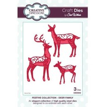Punching and embossing template, reindeer family