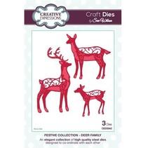 Troquelado y estampado en relieve plantilla, familia renos
