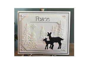 Creative Expressions Troquelado y estampado en relieve plantilla, familia renos
