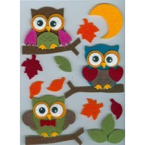 Filz 3D Sticker, owl on, branch and leaves and moon