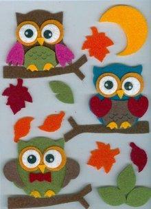 Sticker Filz 3D Sticker, ugle på, gren og blade og månen