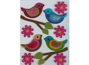 Sticker Filz 3D sticker, fugl, gren, og blomster