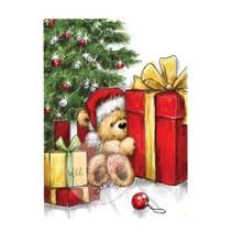 Transparent Stempel, Teddy mit Geschenk