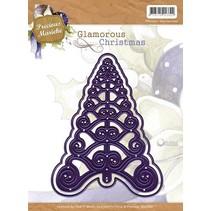 Stempling og Embossing stencil, juletræ, Glamorous jul