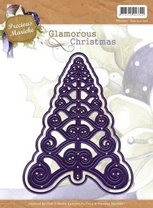 Precious Marieke Stamping and Embossing stencil, christmas tree, Glamorous Christmas