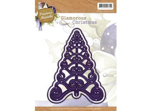 Precious Marieke Stempling og Embossing stencil, juletræ, Glamorous jul