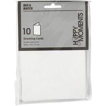 Brev card størrelse 10,5x15 cm, hvid, 10 stykker