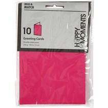 Brev card størrelse 10,5x15 cm, pink / pink, 10 stykker