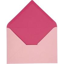 Kuvert, størrelse 11,5x16 cm, pink / pink, 10 stykker