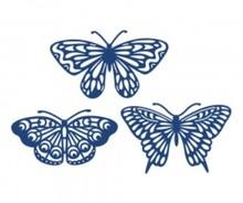 Tattered Lace Skæreskabelon Die, 3 filigrane sommerfugle