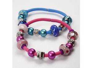 Schmuck Gestalten / Jewellery art Glasperler Harmony, D: 13-15 mm, blå toner, rangeret 10