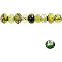 Schmuck Gestalten / Jewellery art Perle di vetro Armonia, D: 13-15 mm, i verdi, ordinati 10