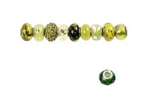 Schmuck Gestalten / Jewellery art Glass Beads Harmony, D: 13-15 mm, greens, ranked 10