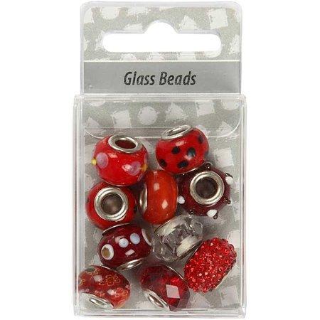 Schmuck Gestalten / Jewellery art Glasperler harmoni, D: 13-15 mm, røde, sorteres 10