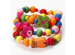Work set for 1 bracelet with wooden beads and bears