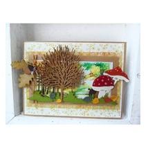 Stampaggio e goffratura stencil, Marianne Design, Designer: Albero + profilo dell'albero