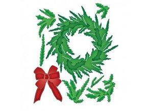 Spellbinders und Rayher Stempling og prægning stencil, jul krans