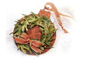 Spellbinders und Rayher Estampado y Repujado plantilla, corona de Navidad